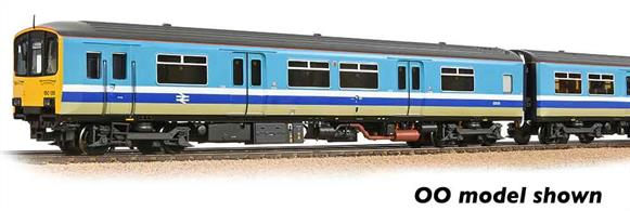 Model of the original class 150 2 car DMU design with full-width cabs at each end and no through corridor connection.This model is painted in the original BR Provincial Services livery.Era 8 1982-1994. DCC Ready 6-pin decoder required for DCC operation. Chassis incorporates speaker housing.