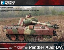 This model kit depicts two early versions of the Panther tank.  About 3,000 were produced between January 1943 and June 1944.  With this kit, you can assemble the Panther to become either an Ausf D or Ausf A variant with 2 copula choices, and with or without side armour.Number of Parts: 53 pieces / 3 sprues