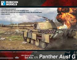 This model kit depicts the late version of the Panther tank.  About 3,000 were produced between March 1944 and April 1945.  With this kit, you can assemble a Panther Ausf G with optional air cooler and rear exhaust choices, with or without side armour.Number of Parts: 53 pieces / 3 sprues