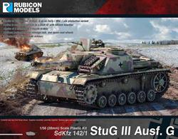 StuG III Ausf G (SdKfz 142/1) was produced between December 1942 and April 1945,  around 8,423 were produced.  The StuG III Ausf G is the final and by far the most common of the StuG series.Number of Parts: 54 pieces / 3 sprues