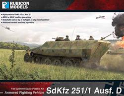 This highly detailed plastic kit depicts a SdKfz 251 Ausf D version.  It comes with two machine gun choices; and a half open or fully closed canvas top (tarp) option. Number of Parts: 43 pieces / 2 sprues