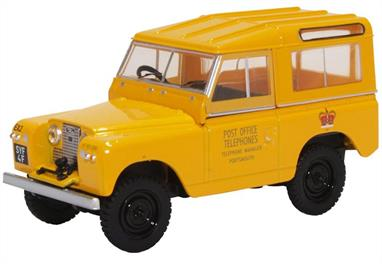 Oxford Diecast 43LR2S004 1/43 Land Rover Series II SWB Hard Back Post Office Telephones Yellow