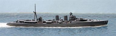 A 1/1250 scale second-hand waterline model of Almirante Cervera, a Spanish light cruiser of around 1938. This model is in very good condition in original medium grey paint, see photograph.