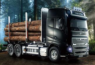 Due May 2019This is a TAMIYA 56360 1/14 scale R/C semi-truck assembly kit model of a timber truck with long rear bed featuring a distinctive frame and stakes for carrying logs. The model itself depicts the Volvo FH16 Globetrotter, a 750hp 16.1-liter turbocharged engine powered truck from the Swedish company's flagship FH Series that underwent a full model change in 2012.