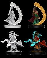 Contains 2 unpainted female gnome sorcerer miniature wargaming figures.