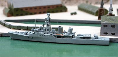 "Model announced for Spring 2019, the Tribal class frigate  Ashanti was built by Yarrow & Co. Ltd in Glasgow. The Tribals were 2300 ton displacement and 110m long, carrying 2 x 4.5"" guns, 2 x Sea Cat systems, 1 x Mortar and a Wasp helicopter. Primarily intended for service in the Caribean or Far East.A welcome addition to Albatros's range!"