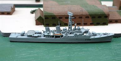 "Model announced for Spring 2019, the Tribal class frigate Eskimo was built by White & Co. Ltd. The Tribals were 2300 ton displacement and 110m long, carrying 2 x 4.5"" guns, 2 x Sea Cat systems, 1 x Mortar and a Wasp helicopter. Primarily intended for service in the Caribbean or Far East.A welcome addition to Albatros's range!"