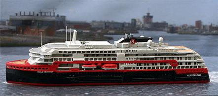 Hetigruten is commissioning stunning new ships that are a far cry from its beginnings. The Roald Amundsen is a fine example with state of the art drive system supplied by the marine division of Rolls Royce. Collectors model captured well in die-cast metal  by Albatros.
