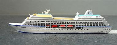 A 1/1250 scale metal model of MS Insignia cruise ship in 2003 by CM Miniaturen CM-KR 2019. Yhis model is a limited edition specially made for the Kassel Show in 2019.