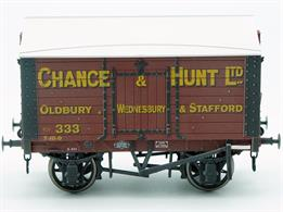 Weathered version of the Chnace & Hunt 9 plank sided covered salt van with peaked wood roof based on RCH 1887 design specifications.This new design add to the range and specification of O gauge ready to run wagons, featuring a diecast chassis for added weight and compensation beams for smooth running.British Manufacturing. Dapol plan to be producing these models from their factory unit in Chirk.