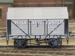 Weathered version of the H Le Neve Foster Basic Lime Company 7 plank covered lime wagon with peaked corrugated iron roof based on RCH 1887 design specifications.This new design add to the range and specification of O gauge ready to run wagons, featuring a diecast chassis for added weight and compensation beams for smooth running.British Manufacturing. Dapol plan to be producing these models from their factory unit in Chirk.