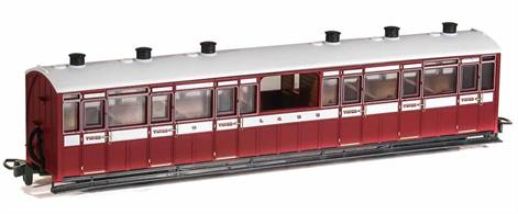 The Lynton and Barnstaple Railways coaches were large and well appointed vehicles built by the Bristol Carriage and Wagon company. In consideration of the scenery along the line many coaches had observation saloons, four third class coaches having an unglazed central observation saloon compartment producing a coach characteristic to the L&B. This model is painted in the original Lynton and Barnstaple Railway livery.Length 167mm over couplings