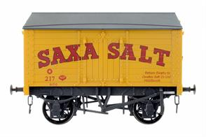 A new detailed model of a 9 plank sided covered salt van with peaked wood roof based on RCH 1887 design specifications finished in the well-known bright yellow livery of Saxa Salt.Please note wagons are individually weathered, finish will vary slightly from model to model.