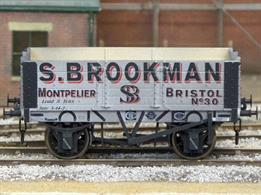 A new detailed model of a 5 plank open wagon following the RCH 1887 specifications and modelled from the production of the Gloucester Railway Carriage and Wagon Company finished in the livery of S Brookman, coal merchants at Montpelier station in Bristol.Model with weathered finish.