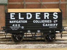 Detailed model of a 7 plank open wagon following the RCH 1887 specifications and modelled from the production of the Gloucester Railway Carriage and Wagon Company. Finished as Cardiff based Elders Navigation Collieries Ltd wagon number 466. Weathered.