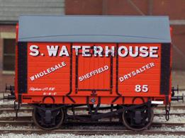Detailed model of a 9 plank sided covered salt van with peaked wood roof based on RCH 1887 design specifications finished as a wagon operated by merchants S Waterhouse.