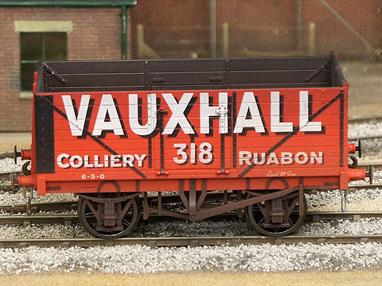 Model of a RCH 1923 type 7 plank open wagon finished as Vauxhall Colliery, Ruabon wagon 318.Weathered finish.