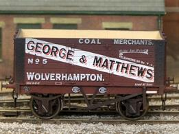 A new detailed model of a 7 plank open wagon following the RCH 1887 specifications and modelled from the production of the Gloucester Railway Carriage and Wagon Company. Finished as George Matthews of Wolverhampton wagon number 5 with side doors and fixed ends.Weathered finish.