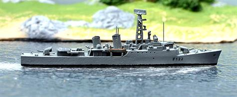 "Introduced by Albatros in the spring of 2019,  model of the Tribal class frigate Gurkha built by Yarrow & Co. Ltd in Glasgow. The Tribals were 2300 ton displacement and 110m long, carrying 2 x 4.5"" guns, 2 x Sea Cat systems, 1 x Mortar and a Wasp helicopter. Primarily intended for service in the Caribbean or Far East.A welcome addition to Albatros' range!"
