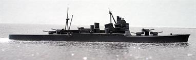 A 1/1200 scale second-hand waterline wooden model of a Japanese heavy cruiser of the Atago Takao type. The model is in good condition and has a printed paper label underneath with the name written on in indian ink.