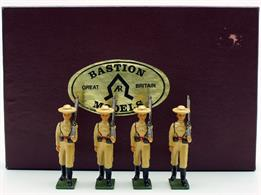Set of four lead/alloy infantrymen painted in khaki dress uniform with Royal Navy straw hats and leather equipment.Photo colour copy of Bastion leaflet with each set.