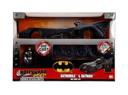 Jadatoys JA30873 1/24th scale diecast metal kit of the 1989 Batmobile with Batman Figure