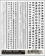 Black san-serif Railroad Gothic lettering set. Ideal for custom signage lettering and renumbering of duplicated wagons etc.Numerals in 1/16, 3/32, 1/8, 3/16in heights, approximately equal to 1.5, 2.3, 3.1, 4.7mmOne sheet 4 x 5in, 100 x 127mm.