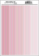 Red stripe dry transfer sheet.Stripe widths 0.01, 1/64, 0.022, 1/32, 5/64in. Approximately 0.25, 0.39, 0.55, 0.79 and 1.2mm.One sheet: 5 5/8 x 8 1/4in (14.2 cm x 20.9 cm)
