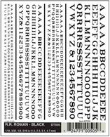 Black serifed Railroad Roman lettering. Ideal for custom signage lettering and renumbering of duplicated wagons etc.Numerals in 1/16, 3/32, 1/8, 3/16in heights, approximately equal to 1.5, 2.3, 3.1, 4.7mmOne sheet 4 x 5in, 100 x 127mm.