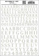 Large size white serif Railroad Roman lettering and numbers.3/8 and 1/2in heights, approximately equal to 9.54 and 12.7mm.One sheet: 5 5/8 x 8 1/4in, 142 x 209mm.NB - large size lettering sheets only available in black or white.