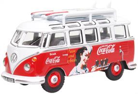 Oxford Diecast 76VWS008CC 1/76th VW T1 Bus and Surfboards Coca Cola
