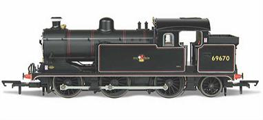 Nicely detailed model of British Railways ex-LNER class N7 0-6-2 tank engine 69670 finished in BR lined black livery with late lion holding wheel crest.