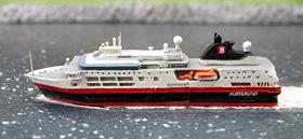 A 1/1250 scale metal, assembled and painted model of Fram Hurtigruten cruise ship as in 2016 by Albatros SM AL246N