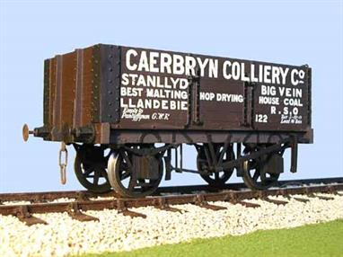 A detailed model kit of a 6 plank open mineral wagon with side and end doors built by the Gloucester Railway Carriage and Wagon Company wagon to the RCH 1887 design with pre-printed sides lettered for the Caerbryn Colliery Company in Llandebie.Supplied with metal wheels, 3 link couplings and sprung buffers