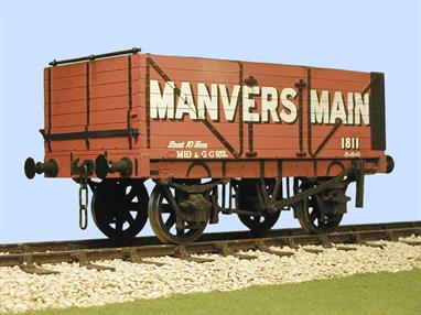 A detailed model kit building a RCH 1907 standard design open wagon with 7 plank height sides, side and end doors finished in the livery of the Manvers Main Colliery,This kit replicates the details of a wagon built by the Charles Roberts company.Supplied with metal wheels, 3 link couplings and sprung buffers