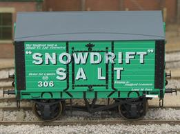 A new detailed model of a 9 plank sided covered salt van with peaked wood roof based on RCH 1887 design specifications finished in the Snowdrift Salt livery. Due to their specialist construction salt vans were not pooled, so remained privately owned after nationalisation and Snowdrift Salt vans were still running into the early 1950s.