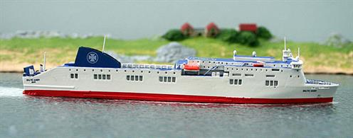 A 1/1250 scale model of Baltic Amber in DFDS service by Rhenania Junior RJ260 DFDS.