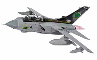 The livery of Corgi RAF Panavia Tornado GR.4 ZG775 of IX(B) Squadron features the distinctive green bat crest on the tail, a design first presented by the squadron as the Tornados retirement date approached.RAF Marham said farewell to the remaining Tornados in style with their spectacular massed formation flypast.