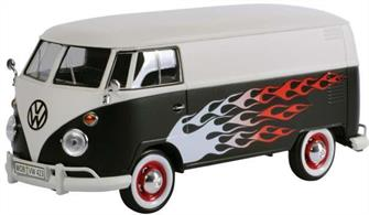 79566 VW T1 Van Black & White with Flames