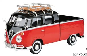 79552R VW T1 D/Cab Pick up with Roofrack Red/Black