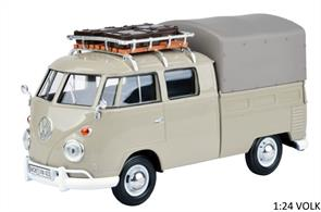 79553GY VW T1 D/Cab Canvas Pick Up & Roofrack Grey
