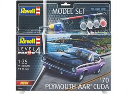 Revell 67664 1/25th 1970 AAR Cuda Muscle Car Kit Model Set