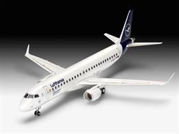 Revell 63883 1/144th Embraer 190 Lufthansa New Livery Airliner Kit Model SetNumber of Parts 55  Length 253mm  Wingspan 200mm