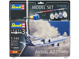 Revell 63942 1/144th Airbus A320 Neo Lufthansa New Livery Airliner Kit Model SetNumber of Parts 51   Length 261mm   Wingspan 235mm