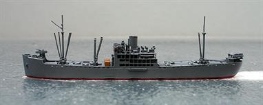 A 1/1250 scale metal model of the IJN transport Kagu Maru in 1942.