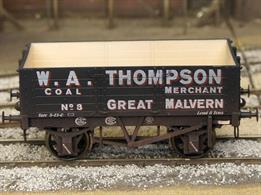 A new detailed model of Great Malvern coal merchant W A Thompson 5 plank open wagon number 8.The Dapol RCH 1887 specifications are modelled from the prolific production of the Gloucester Railway Carriage and Wagon Company.