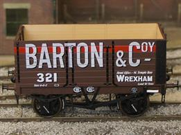 Highly detailed model of the first RCH standard design 7 plank open mineral wagon finished as Barton & Company wagon number 321.