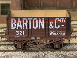 Highly detailed model of the first RCH standard design 7 plank open mineral wagon finished as Barton & Company wagon number 321.Weathered finish model.