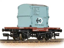 BR conflat container flat wagon with a light-blue painted AF type container.