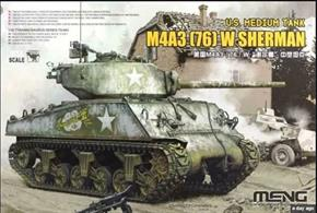 Superbly detailed plastic model kit by Meng for the US Army Sherman M4A3 tank with 76mm gun.